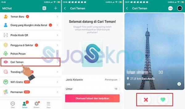 Cara mencari teman di MiChat lewat fitur Cari Teman